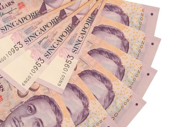 Fatture di dollari di singapore che pongono sulla superficie bianca