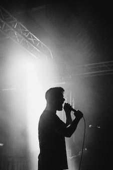 Cantante che si esibisce sul palco in uno spettacolo dal vivo