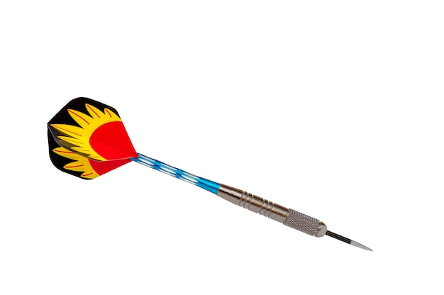 Frecce multicolori del singolo dardo isolate su white