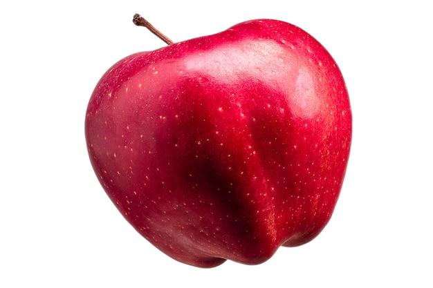 Singola mela rossa deliziosa isolata su priorità bassa bianca con il percorso di residuo della potatura meccanica e riflessi lucidi