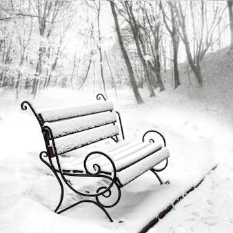 Unico banco vuoto coperto di neve in un parco invernale