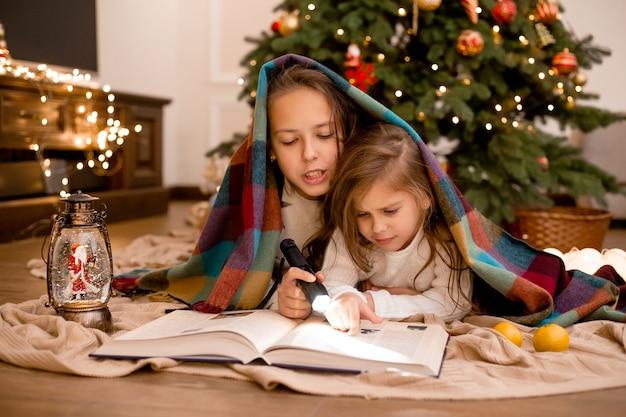 Le sorelle leggono un libro avvolto in un plaid