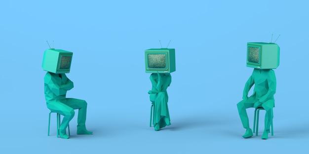 Persone sedute che parlano con un vecchio televisore invece delle loro teste illustrazione 3d copia spazio