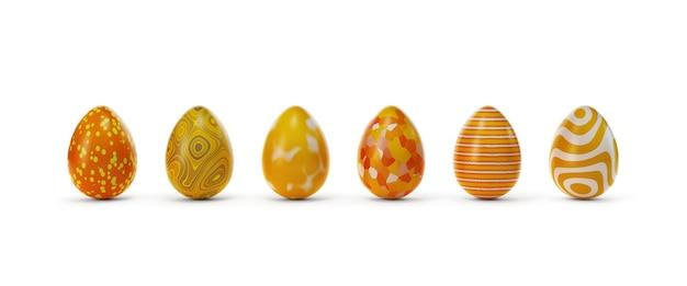 Sei uova colorate con diversi ornamenti in linea su sfondo bianco