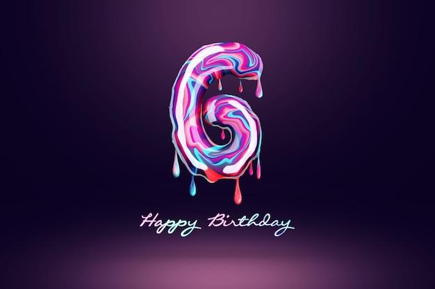 Sfondo di sei anni di anniversario, numero di caramelle rosa su sfondo scuro. concetto per sfondo di buon compleanno, modello di brochure, festa, poster. illustrazione 3d, rendering 3d.