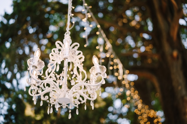 Lampadario di cristallo a sei luci e ghirlanda appesa all'albero che decorano un pranzo di nozze all'aperto