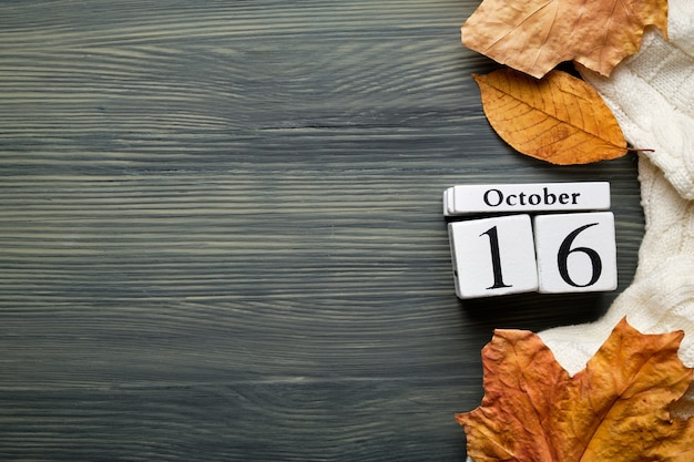 Sedicesimo giorno del mese di ottobre del calendario autunnale con lo spazio della copia