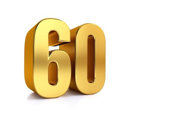 Sessanta, illustrazione 3d numero dorato 60 su sfondo bianco e copia spazio sul lato destro per il testo, meglio per anniversario, compleanno, festa di capodanno.