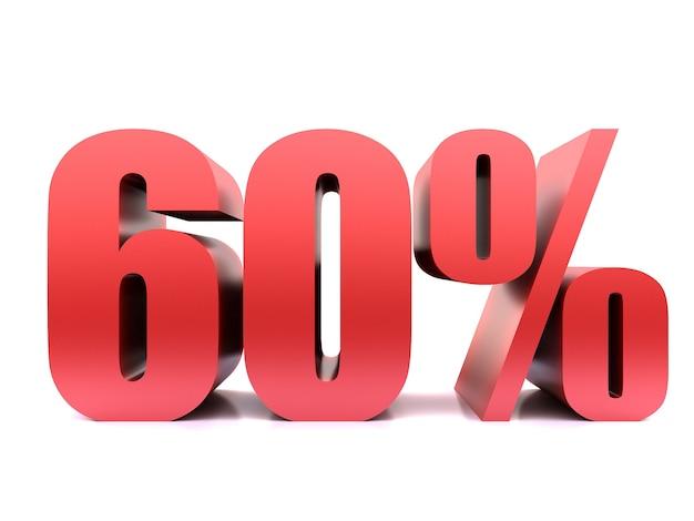 Simbolo di sessanta per cento 60% rendering 3d