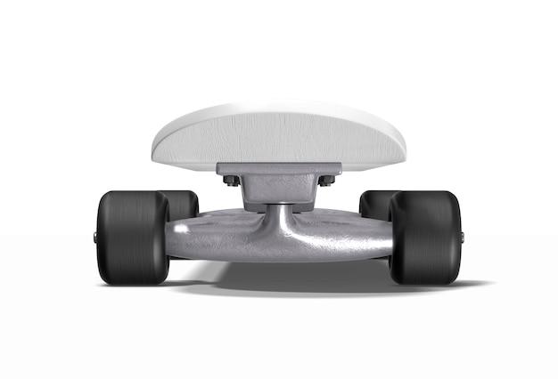 Skateboard su bianco. rendering 3d.