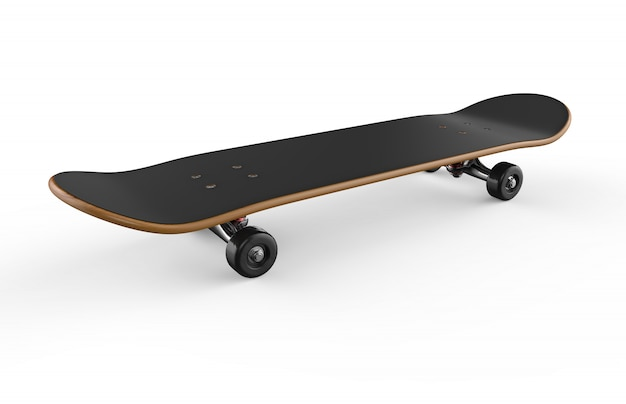 Skateboard su uno sfondo bianco