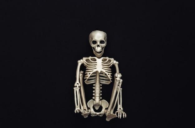 Scheletro sul nero. decorazione di halloween, tema spaventoso