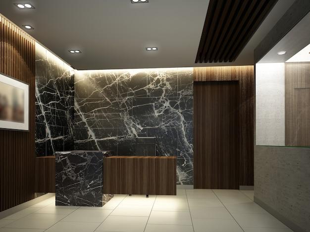 Schizzo di design della reception, rendering 3d