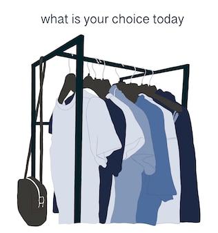 Schizzo su sfondo bianco dove c'è un binario con vestiti in una tavolozza di colori blu e un'iscrizione su quanto sia difficile decidere quando si scelgono i vestiti ogni giorno