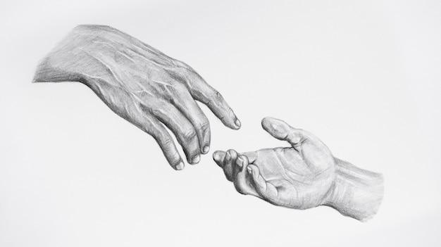 Schizzo di raggiungere, dare una mano. disegnare le mani toccanti.