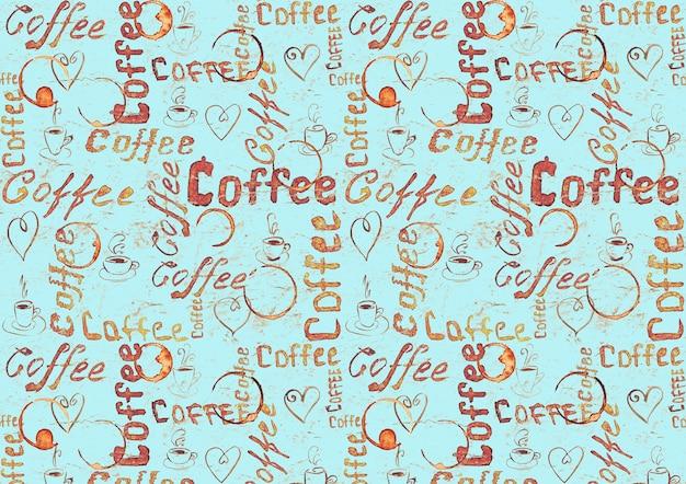 Disegna la superficie del caffè turchese con scritte, cuori, tazze da caffè e tracce di tazze