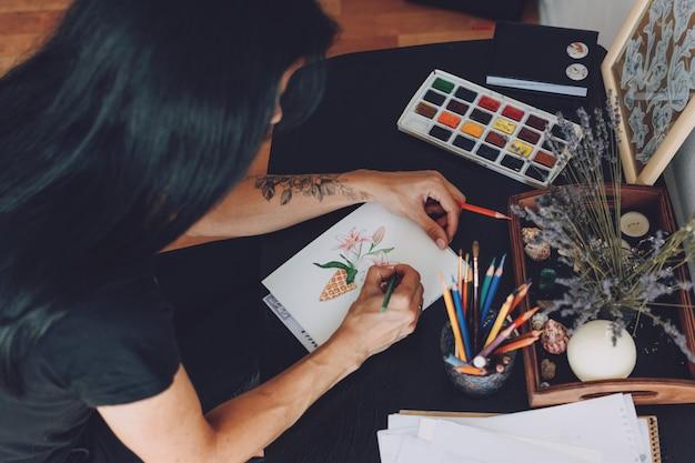 Arte dello sketchbook, ispirazione dell'artista, disegno del tatuaggio