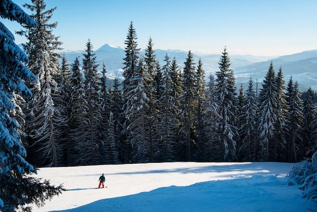 Sciatore a cavallo sulla neve fresca
