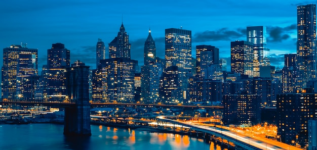 Skyline del centro di new york, new york, usa