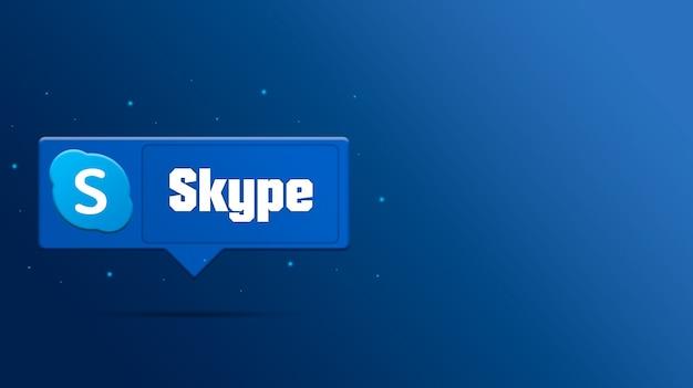 Il logo di skype sulla bolla di discorso 3d rende