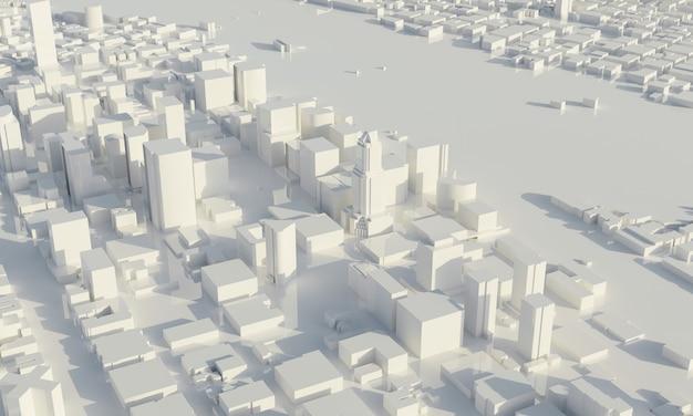 Grattacielo e metropoli in bianco e nero. architettura e concetto di piano della città di affari. scena di paesaggio urbano basso poligono. progetto per il tema del mega progetto. copia spazio. rendering di illustrazioni 3d