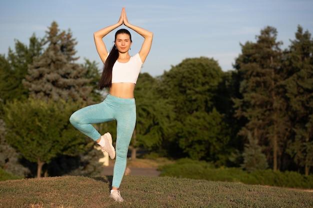 Donna snella che indossa abbigliamento sportivo rilassante nella natura e praticando yoga al tramonto. spazio per il testo