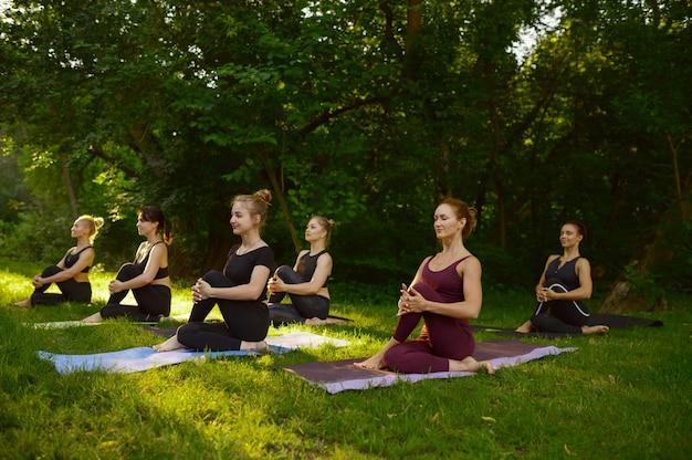 Donne magre che fanno esercizio di stretching, formazione yoga di gruppo sull'erba nel parco. meditazione, lezione di allenamento all'aperto, pratica di rilassamento