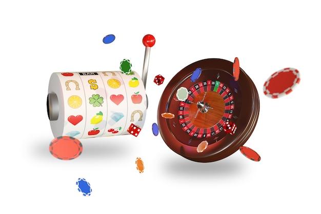 Slot machine, fiches, dadi e una ruota della roulette del casinò isolata su priorità bassa bianca.
