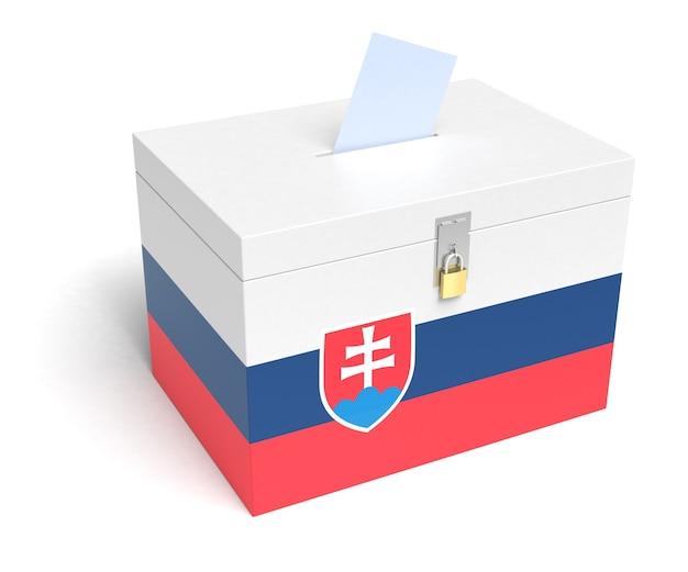 Urna elettorale della slovacchia con bandiera slovacca. isolato su sfondo bianco.