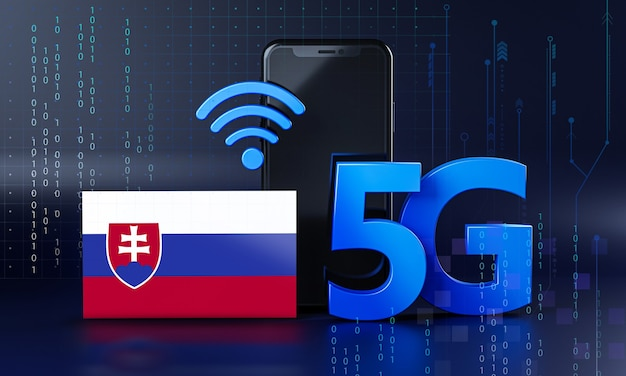 Slovacchia pronta per il concetto di connessione 5g. sfondo di tecnologia smartphone rendering 3d