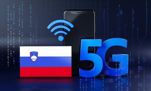 La slovenia pronta per il concetto di connessione 5g. sfondo di tecnologia smartphone rendering 3d