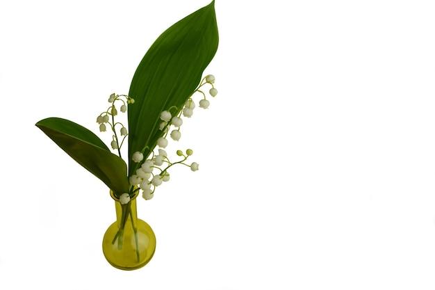 Un piccolo mazzo di fiori di mughetto su uno sfondo bianco in un piccolo vaso di vetro giallo
