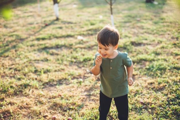 Piccolo ragazzo caucasico che sorride e che gioca sull'erba verde