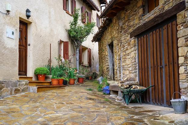 Piccolo angolo in un vicolo di un centro storico con vasi di fiori, fiori e carriola. madrid.