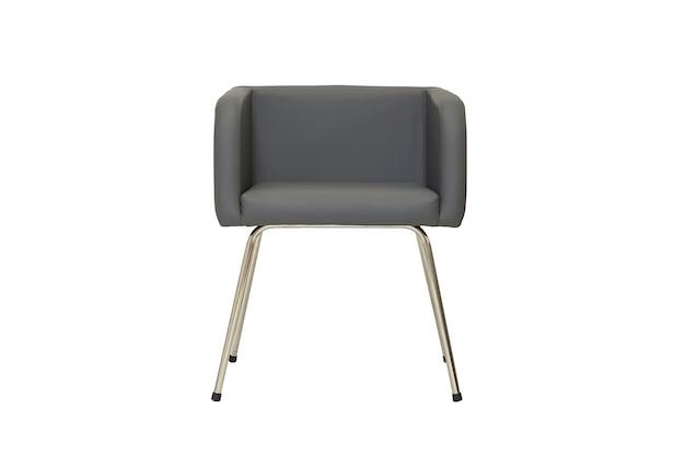 Piccola sedia in pelle grigio scuro in stile rigoroso isolato su sfondo bianco, vista frontale. mobili moderni in stile minimal, interni, design per la casa o l'ufficio