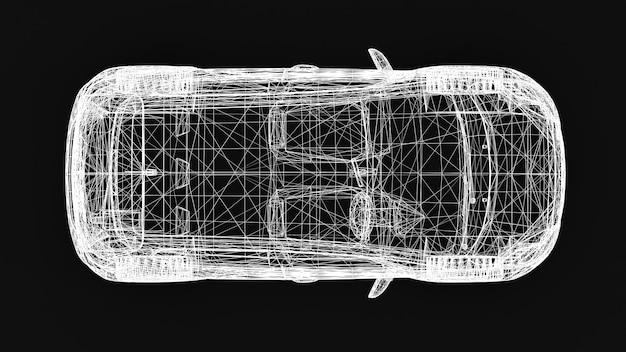 Piccola auto di famiglia, design a rete. rappresentazione 3d.