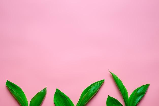 Piccole foglie verdi mazzi di mughetto come bordo floreale nella parte inferiore con copia sp...
