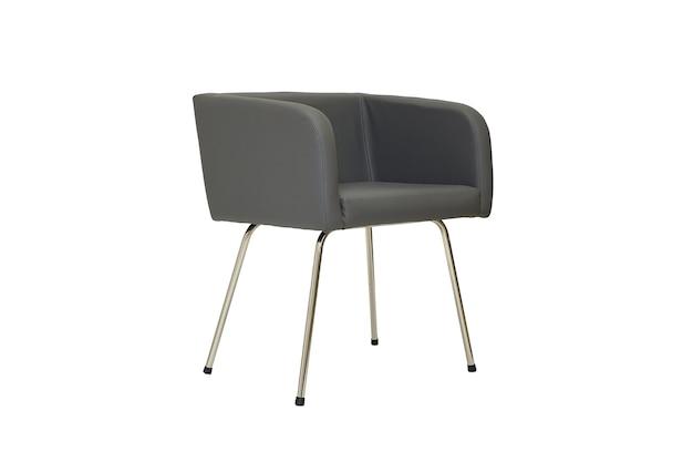 Piccola sedia da ufficio in pelle grigia in stile rigoroso su sfondo bianco vista laterale