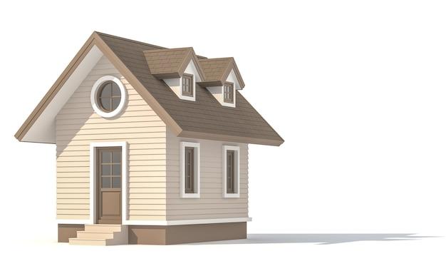 Piccola casa su sfondo bianco con tracciato di ritaglio 3d render
