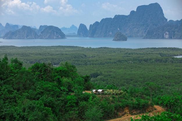 Piccola capanna isolata nella foresta di alberi verdi vicino alla baia e alle montagne con cielo azzurro e nuvole in giornata di sole.