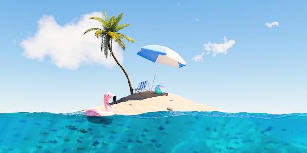 Piccola isola con palme e accessori da spiaggia con vista subacquea piena di pesci
