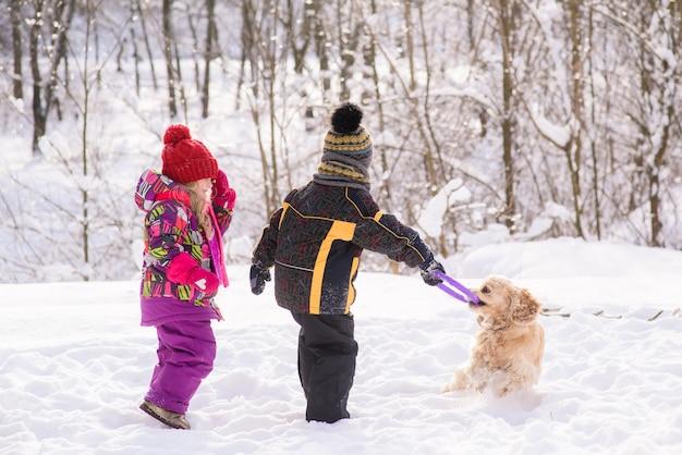 I bambini piccoli giocano con cocker spaniel nella foresta invernale