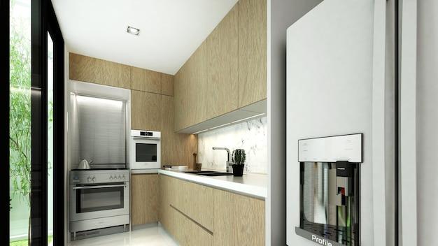 Interior design della piccola cucina e superficie in legno