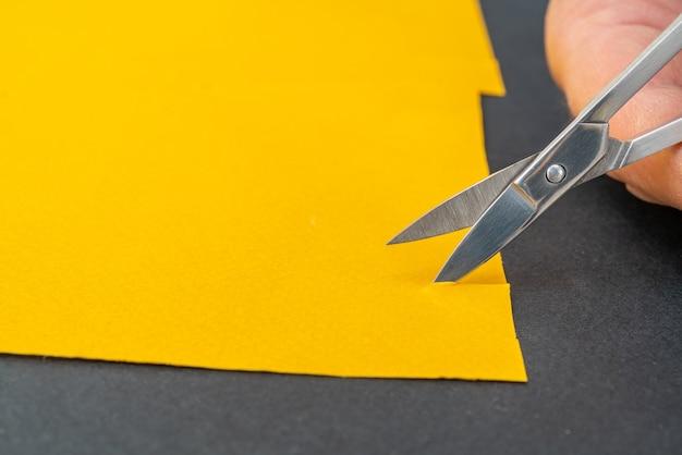 Piccole forbici in metallo per tagliare la carta. arte fatta in casa fai da te.