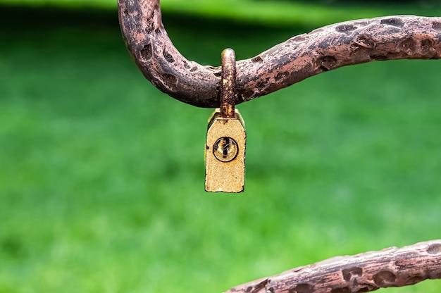 Piccolo vecchio lucchetto chiuso appeso alla recinzione metallica nel parco. concetto di amore.