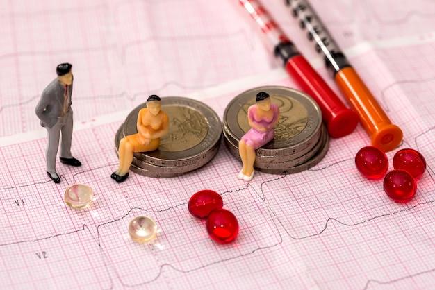 Piccole persone con pillole e cardiogramma