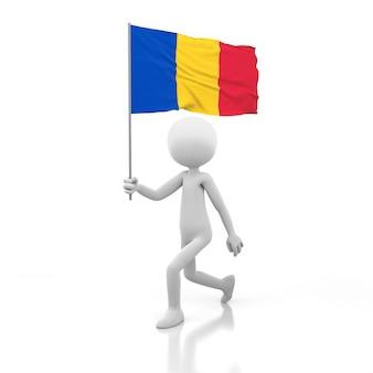 Piccola persona che cammina con la bandiera della romania in una mano. immagine di rendering 3d