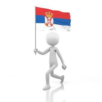 Piccola persona che cammina con la bandiera della serbia in una mano. immagine di rendering 3d