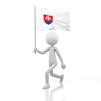 Piccola persona che cammina con la bandiera della slovacchia in una mano. immagine di rendering 3d