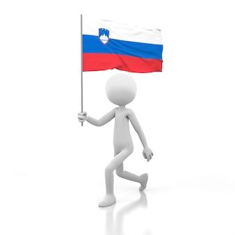 Piccola persona che cammina con la bandiera della slovenia in una mano. immagine di rendering 3d